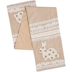 Pier 1 Imports Natural Lace Bunny Table Runner (1.665 RUB) ❤ liked on Polyvore featuring home, kitchen & dining, table linens, lace table runner, white table linens, pier 1 imports, lace table linens and white lace table runner