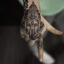 Ganesha tattoo design designs pictures on top best ganesh tattoo art stud. Tribal om ganesha and trishul tattoo half sleeve photos on thinking about getting this ganesh tattoo my styl Dope Tattoos, Trendy Tattoos, Body Art Tattoos, New Tattoos, Sleeve Tattoos, Tattoos For Guys, Hand Tattoos For Women, Tatoos, Ganesha Tattoos
