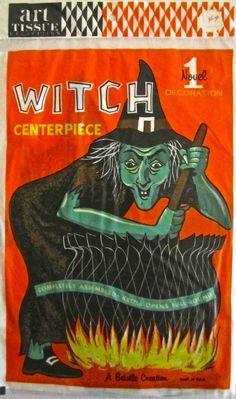 Vintage Halloween Beistle Art Tissue Witch Centerpiece. Late 1960's-1970's