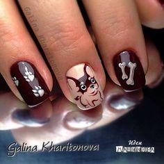 Just too adorable Dog Nail Art, Dog Nails, New Year's Nails, Cute Nail Art, Cute Nails, Pretty Nails, Animal Nail Designs, Crazy Nail Designs, Nail Art Designs