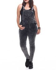 Jumpsuits - Holiday Chemical Plush Cord Skinny Overall (Plus)