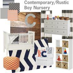 Rustic Orange, Navy, & Gray Nursery by aestewart, via Polyvore