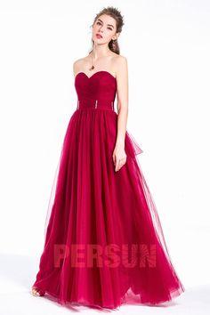 bd38246f586 Robe bordeaux de soirée longue vin rouge bustier coeur jupe vaporeuse en  tulle - Robedesoireelongue.