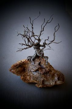 Tree of Life Metal Sculpture on Wood Base by deleas on Etsy, $42.00
