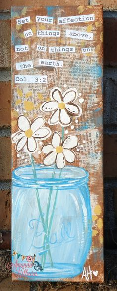 Things Above Ball Jar Painting Mason Jar and by AmandaHilburnART, $38.00