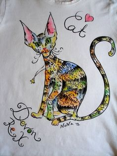 Handpainted Tshirt  Rainbow cat  S by LittleArtSweets on Etsy, $25.00