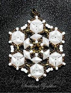 Crystallina Bead Pattern And Tutorial - Pearl White And Gold Version