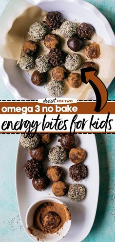 In search of omega 3 rich food for back to school season? Here's the perfect healthy recipe! Packed with a stellar nutritional profile, these no-bake energy bites are the best snack idea for kids and adults alike. Save this pin! Easy Snacks For Kids, Healthy Snacks For Kids, Easy Healthy Recipes, Quick Easy Meals, Snack Recipes, No Bake Energy Bites, Dessert For Two, Good Food, Yummy Food