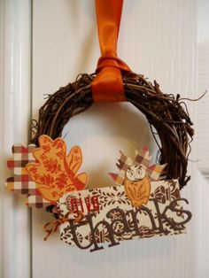 Give Thanks Wreath - stamped shapes.  Love the mini wreath idea!