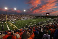 Beautiful shot of Hughes Stadium with the sunset.  Love my Rams!