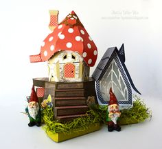 One Scrap at a Time: Garden Gnome Cottage created with the Simple Stories Bloom & Grow collection and the Fairy Cottage digital cut file from SVGcuts. Check out my blog for looks at the sides and back of this whimsical house.