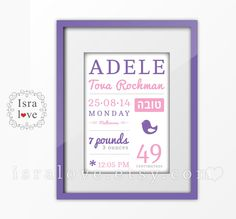 Personalized Birth Stats including Jewish Name. by Israelove
