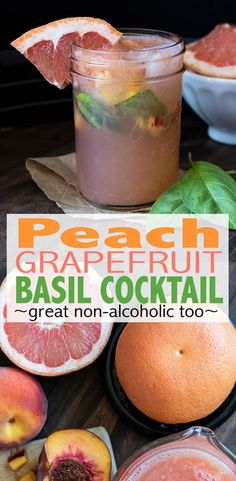 tart yet sweet peach grapefruit basil cocktail is the perfect summer drink, and great non-alcoholic too. So refreshing, and made with fresh delicious fruit! Fun Cocktails, Summer Drinks, Cocktail Drinks, Cocktail Recipes, Cocktails With Basil, Bourbon Drinks, Refreshing Cocktails, Best Vegan Recipes, Whole Food Recipes