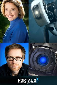 Portal 2: The voices behind the robots. Ellen McLain as GLaDOS and Stephen Merchant as Wheatley