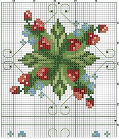 Cross-stitch Berries Biscornu, part 2... no color chart available, just use pattern chart as your color guide.. or choose your own colors...    Kreuzstich