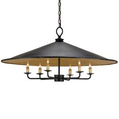 Brussels Pendant in French Black/Contemporary Gold Leaf by Currey and Company.