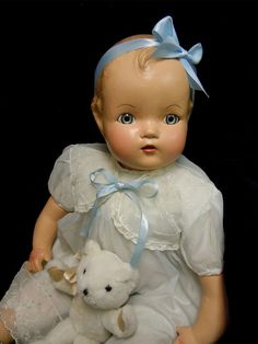"Vintage Composition   Baby Doll - 1930's - 40's  Restored - 22"" Horsman Doll"