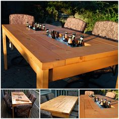 DIY Patio Table with Built-in Wine Cooler  #diy #home #furniture
