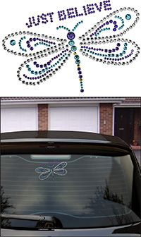 Just Believe Dragonfly Window Bling at The Breast Cancer Site   Greater Good.com