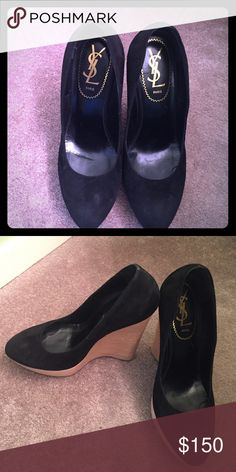"""YSL Shoes Stacked platform YSL heels in black suede 5"""" high ! It can go with any outfit ! Great for transitioning from day into the night !! YSL Shoes Wedges"""