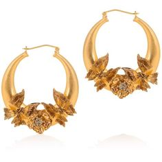 Alexander Mcqueen Butterfly Hoop Earrings ($594) ❤ liked on Polyvore featuring jewelry, earrings, floral earrings, gold tone earrings, clear earrings, alexander mcqueen and monarch butterfly earrings
