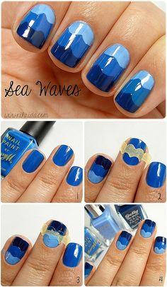 How To: Sea Waves #nails #nailart