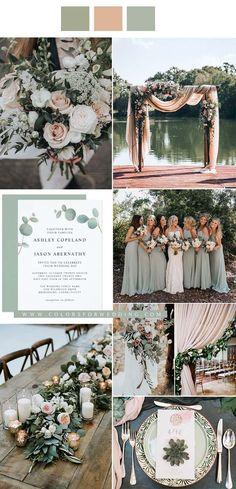 Fall Wedding Colors, Wedding Color Schemes, Wedding Flowers, Elegant Wedding Colors, Fall Wedding Themes, Emerald Wedding Colors, Pastel Wedding Colors, Wedding Greenery, Rustic Wedding Theme