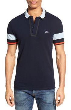 Lacoste Stripe Sleeve Piqué Cotton Polo | Nordstrom