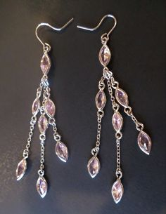 Vintage Fashion Pink Faceted Glass Stones Dangle Earrings. by Bestintreasures on Etsy