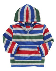 Fuzzy and warm microfleece hoodie with bright stripes.204р