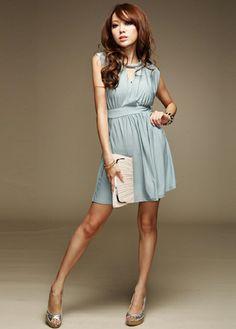 Brief Round Neck Diamond & Cutout Design Shirred Waist Light Blue Mini Dress.    , Dresses Style: Brief    , Neckline: Round neck    , Sleeve Style: Tank     ,Sleeve Length: Sleeveless    , Dresses Silhouette: A Line     ,Dresses Length: Mini     ,Bust (cm): 82-90cm     ,Clothing Length (cm): 80cm.