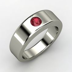 Round Ruby Platinum Ring.  The simplicity is beautiful.