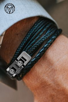 This all black leather and stainless steel bracelet will add some punch to your wardrobe! The soft retro-style cords blend into the tough, hard-wearing stainless steel double lock. Braids are super fibre, all other strands are genuine leather. The clasp Bracelets Design, Bracelets For Men, Beaded Bracelets, Leather Bracelets, Couple Bracelets, Leather Men, Black Leather, Stainless Steel Bracelet, Man Stuff