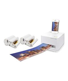 Showing off vacation photos and family portraits has never been easier than with this printer that prints vibrant 4-by-6 inch pictures as well as phenomenal panoramic photographs with dynamically crisp detail and breathtakingly beautiful color gradation. Featuring a compact design that incorporates paper and ink in one easy-to-change cartridge, along with a charging dock for iOS 30-pin devices and a USB connection for tablets, digital cameras and Android smartphones, it has never been easier…