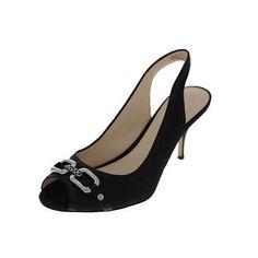Coach-NEW-Belle-Black-Jacquard-Open-Toe-Heels-Shoes-8-5-Medium-B-M-BHFO