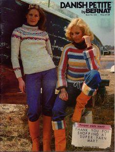Bernat 232 Danish Petite Knitting Crochet Patterns Sweaters Vest Fair Isle 1977 #Bernat #KnittingCrochetPatterns