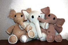 Elephants Hand Knit Organic Toy Softie Plush with free