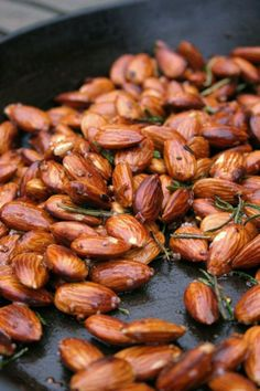 Garlic, rosemary and red chili spiced almonds. These are amazing so make extra.