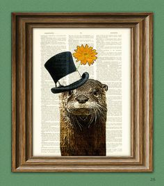 The River Gentleman OTTER with a top hat and by collageOrama, $7.99