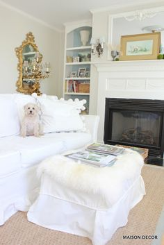 Summer Whites! Simply add more whites to your existing spaces to give it a summery look. Sounds simple and it is. Load up on oversized white pillows and throws. Mix in some natural elements like carpet and baskets for a chic summer vibe. Sponsored by HomeGoods