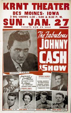 "JOHNNY CASH Concert Poster 1963 Des Moines IOWA  $8.00 • 100% Mint unused condition • Well discounted price + we combine shipping • Click on image for awesome view • Poster is 12"" x 18"" • Semi-Gloss Finish • Great Music Collectible - superb copy of original • Usually ships within 72 hours or less with tracking. • Satisfaction guaranteed or your money back.Go to: Sportsworldwest.com"