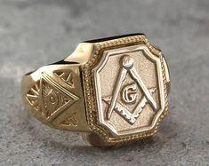 Masonic signet ring Large masonic signet ring All-Seeing Eye Mens Gold Rings, Sterling Silver Mens Rings, Rings For Men, Masonic Gifts, Book Folding Patterns, Folded Book Art, Evil Eye Ring, Signet Ring, Unique Rings