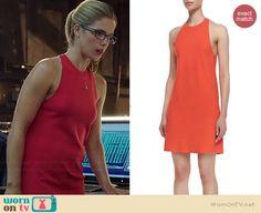 Felicity's orange high-neck cross-back shift dress on Arrow.  Outfit Details: http://wornontv.net/38411/ #Arrow