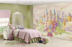 Kids Room Designs, Awesome Girls Bedroom In Princess Themes Decorating Ideas With Huge Castle Wallpaper: Princess And Ballerina Kid Bedroom ...