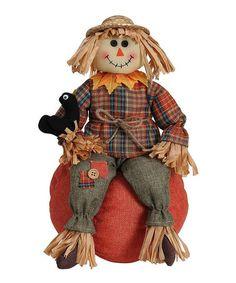 Loving this Scarecrow & Pumpkin Figurine on #zulily! #zulilyfinds