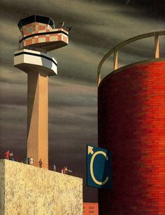 Jeffrey Smart, Control Tower, 1969 on ArtStack Australian Painters, Australian Artists, Urban Landscape, Landscape Art, Jeffrey Smart, Industrial Paintings, Critique D'art, City Drawing, Smart Art