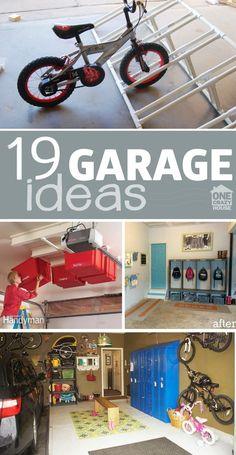 18 Garage Envy Ideas - cubbies, lockers, storage, organization, bike and toy storage Garage, ideas, man cave, workshop, organization, organize, home, house, indoor, storage, woodwork, design, tool, mechanic, auto, shelving, car.