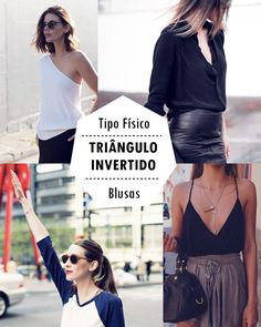 TIPO FÍSICO TRIÂNGULO INVERTIDO - COSTAS LARGAS- O QUE USAR, O QUE EVITAR, Você vai ver o que usar, o que evitar e como se vestir bem independente do peso. V Shape Body, Triangle Body Shape, Body Shapes, Body Type Clothes, Dress Body Type, Inverted Triangle Outfits, Inverted Triangle Body, Petite Outfits, Pink Outfits