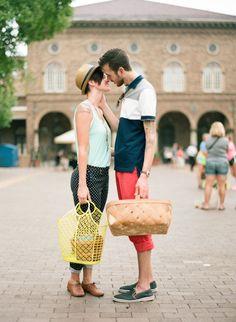 Urban farmers market picnic engagement shoot | Photo by Shelly Goodman | Read more - http://www.100layercake.com/blog/?p=79113