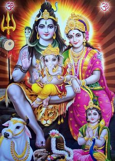 Beautiful Divine family - Shiva, Parvati, Ganesh and Kartikeya